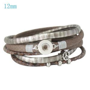 Las pulseras de cuero PU 16inch se ajustan a los trozos de broches 12MM