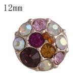 12MM broche redondo Plata antigua Oro rosa con diamantes de imitación de colores KS9676-S broches de joyería