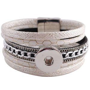 Partnerbeads 8.26inch pulseras blancas de cuero de PU Botón extraíble Ajuste 18 / 20MM broches de presión KC0253 broches de joyería