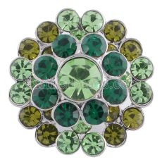 20MM Flower snap silver plated KC5211 with Gradient green Rhinestones interchangeable snaps jewelry