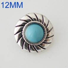 12mm round snaps Antique Silver Plated with green turquoise KB6583-S snap jewelry