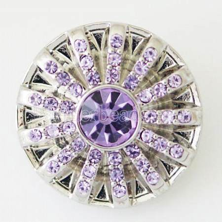 20MM Flower snap Silver Plated with purple rhinestone KB5296 snaps jewelry