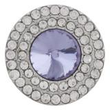 20MM Broche redondo plateado con diamantes de imitación púrpura KC9882 broches de joyería