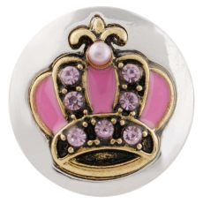 20MM crown snap gold plated with Rhinestone and pink Enamel KC7461 interchangeable snaps jewelry