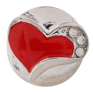 20MM Valentine loveheart en métal argenté avec strass rouge et émail KC7441 bijoux interchangeables