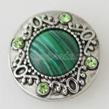 20MM Round snap Antique Silver Plated with rhinestone and green stone KB5174 snaps jewelry