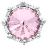 20MM broche de corona plateado con diamantes de imitación rosa KC6809 broches de joyería