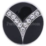 20MM Round snap Silver Plated with clear Rhinestones and black Enamel  KC6165 snaps jewelry