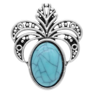 20MM design snap Silver Plated avec Cyan Turquoise KC6904 snaps jewelry