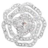 20MM Flowers snap Plateado con diamantes de imitación blancos KC7891 broches de joyería