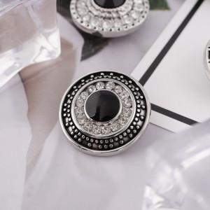 20MM Broche redondo plateado antiguo plateado con diamantes de imitación negros y claros KB6146 broches de joyería