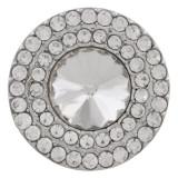 20MM Broche redondo plateado con diamantes de imitación blancos KC9884 broches de joyería