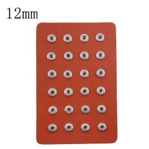 Exhibición de piezas 24 tipo PU de cuero naranja para trozos de broches 12MM