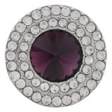 20MM Broche redondo plateado con diamantes de imitación púrpura oscuro KC9881 broches de joyería