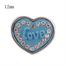 12MM blue loveheart snap Versilbert mit Strass KS8041-S snaps jewelry