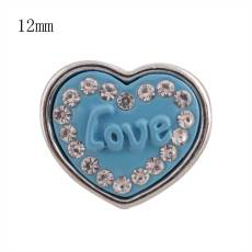 12MM blue loveheart snap Silver Plated with rhinestone KS8041-S snaps jewelry