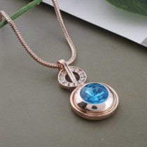 20MM round snap Rose-Gold Plated with light blue Rhinestone KC9760 snaps jewelry