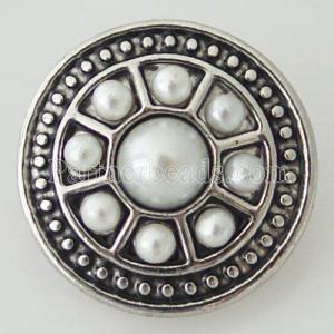 20MM broche redondo plateado antiguo plateado con perlas blancas KB7038 broches de joyería