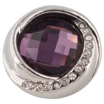 20MM design snap silver plated with purple Rhinestone KC7418 interchangeable snaps jewelry