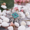 20MM Flower round snap Antique copper plated KC5026 with cyan Rhinestone interchangeable snaps jewelry