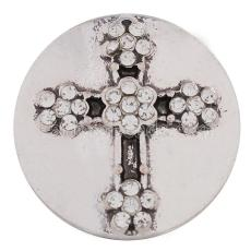 20MM Cross snap Silver Plated with white rhinestones and Enamel KC8564 snaps jewelry