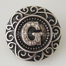 20MM English alphabet-G snap Antique silver  plated with Rhinestones KB6260 snaps jewelry