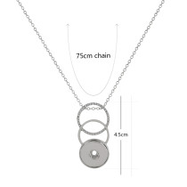 Pendant sliver Necklace with 75CM chain KC1044 snaps jewelry