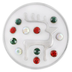 20MM Christmas elk snap silver Plated with rhinestones and Enamel KC7511 snaps jewelry