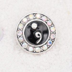 20MM semicolon snap Silver Plated with rhinestone and black enamel KC7920 snaps jewelry
