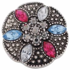 20MM Design snap Argenté avec strass multicolores KC8593 snaps bijoux