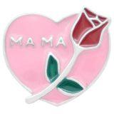 20MM Love Rose snap Chapado en plata esmalte rosa KC7864 broches de joyería