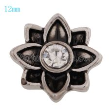 12MM Flower snap Antique Silver Plated with white Rhinestone KS9669-S snaps jewelry