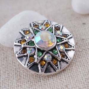 20MM design snap Antique Silver Plated with multicolor Rhinestone KC8744