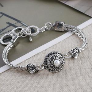 12MM Broche redondo Chapado en plata antigua con cuentas blancas KS5198-S broches de joyería