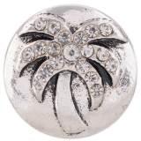 20MM Broche de árbol de coco Chapado en plata antigua con diamantes de imitación blancos KC7426 joyería de broches intercambiables