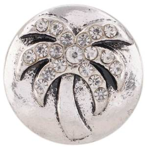 20MM Coconut tree snap Antique silver plated with white Rhinestone KC7426 interchangeable snaps jewelry