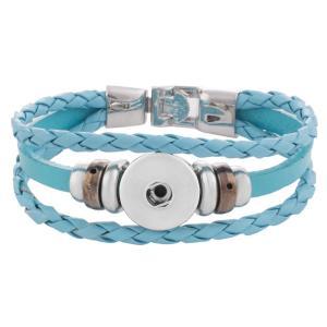 Las pulseras de cuero azul claro 20CM se ajustan a los trozos de broches 18MM