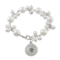 1 buttons snaps 21CM metal pearl Bracelets KC0792 fit 18&20MM snaps chunks