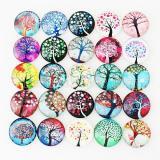 Trozos de broches de vidrio impreso 10pcs - Patrón de diseño artístico Lifetree MIX 25