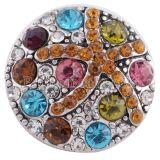 20MM Морская звезда с защелкой Античное серебро с многоцветным стразами KC6314 Многоцветный