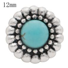 12mm круглый Мелкие защелки с зеленым натуральным камнем для ювелирных изделий с кусочками KS6363-S