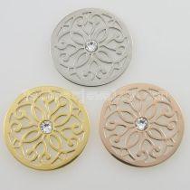 Los encantos de monedas de acero inoxidable 33MM se ajustan a las flores del tamaño de la joyería con cristal