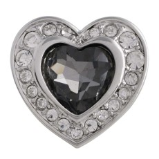 20MM heart snap Silver Plated with gray Rhinestone KC5603 snaps jewelry