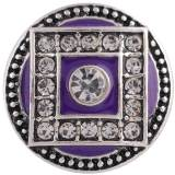 20MM round snap Antique Silver Plated with Rhinestone and purple Enamel KC8757 snaps jewelry