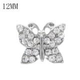 Broche de mariposa 12MM plateado con diamantes de imitación blancos KS7028-S broches de joyería