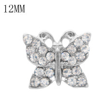 12MM Butterfly snap Silver Plated with  white rhinestone KS7028-S snaps jewelry