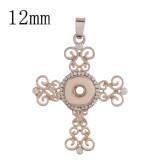 Colgante de oro rosa a presión con diamantes de imitación en forma 12MM broches de joyería de estilo KS0351-S
