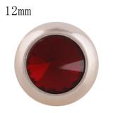 12MM bouton pression rond en or rose avec strass rouge foncé KS9677-S s'enclenche les bijoux