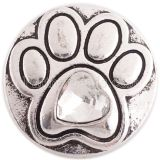 20MM paw snap silver Antique plated with white Rhinestone KC6364 snaps jewelry