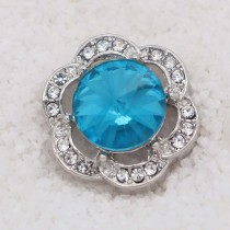 20MM design snap Silver Plated with blue rhinestone KC7936 snaps jewelry